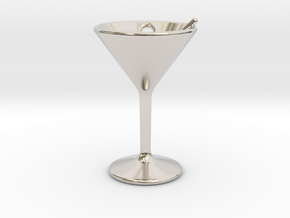 Martini Little Earring in Rhodium Plated Brass