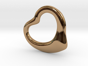 Open Heart Pandent, large in Polished Brass