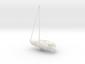 Sailboat 01 full hull.HO Scale (1:87) in White Natural Versatile Plastic