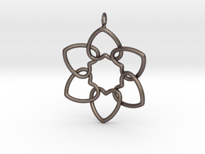 Heart Petals 6 Points - 5cm - wLoopet in Polished Bronzed Silver Steel