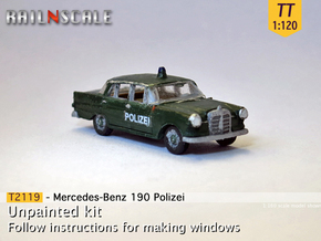 Mercedes-Benz 190 Polizei (TT 1:120) in Smooth Fine Detail Plastic