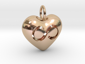 Hollow Infinity Heart Pendant in 14k Rose Gold Plated Brass