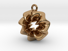 Wavy Ring Pendant in Polished Brass