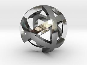 0401 Spherical Cuboctahedron (d=2.2cm) #001 in Fine Detail Polished Silver