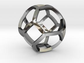 0409 Spherical Truncated Octahedron #001 in Fine Detail Polished Silver