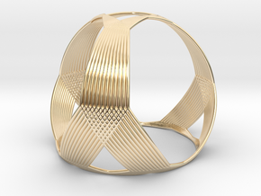 0407 Spherical Truncated Tetrahedron #003 in 14k Gold Plated Brass