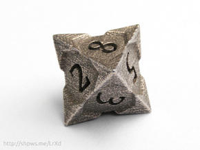 'Starry' D8 balanced die in Polished Bronzed Silver Steel