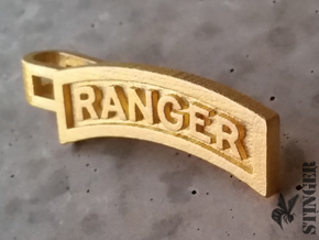 Ranger Tab Tie Bar in Polished Gold Steel