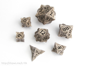 'Starry' Gaming Die Set + Decader (10D10) in Polished Bronzed Silver Steel