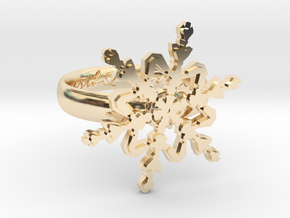 Snowflake Ring 2 d=16mm h35d16 in 14K Yellow Gold