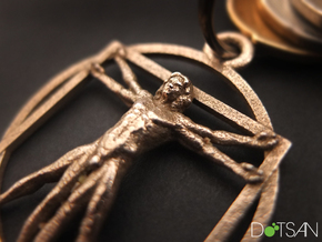 3D Printed Stainless Steel Vitruvian Man Keychain in Stainless Steel