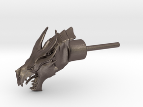 Dragon Head Liquor Pourer in Polished Bronzed Silver Steel