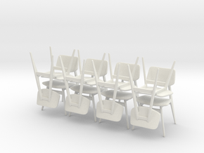 1:24 C 275 Chairs Set of 8 in White Strong & Flexible