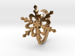 Snowflake Ring 2 d=16mm h21d16 in Polished Brass