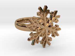 Snowflake Ring 1 d=17mm h35d17 in Polished Brass