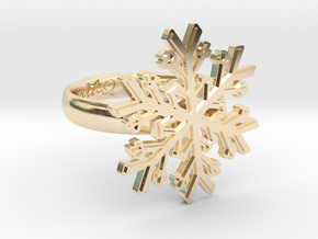 Snowflake Ring 1 d=17mm h35d17 in 14k Gold Plated Brass