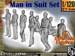 1-120 Man In Suit SET in Smooth Fine Detail Plastic
