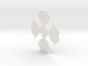 Mandelbrot Flake Pendant in White Processed Versatile Plastic