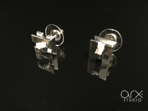 AH Earrings in Rhodium Plated Brass