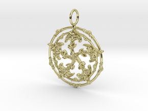 Baroque Fleur de Lys Pentagram pendant in 18k Gold Plated Brass