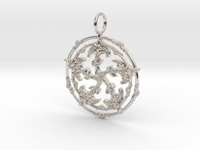 Baroque Fleur de Lys Pentagram pendant in Rhodium Plated Brass