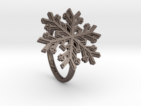 Snowflake Ring 1 d=17mm h21d17 in Polished Bronzed Silver Steel