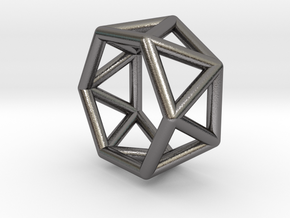 0418 Hexagonal Antiprism (a=1cm) #001 in Polished Nickel Steel