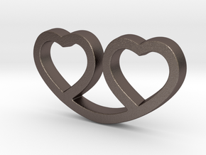 Two Hearts Together Pendant - Amour Collection in Polished Bronzed Silver Steel