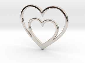 One Heart for Two Pendant - Amour Collection in Platinum