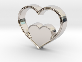Two Hearts in One Pendant - Amour Collection in Rhodium Plated Brass