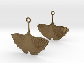 Ginkgo Leaf Earring in Polished Bronze
