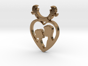 Two in One Heart with Doves V2 Pendant - Amour in Natural Brass