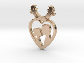 Two in One Heart with Doves V2 Pendant - Amour in 14k Rose Gold Plated Brass