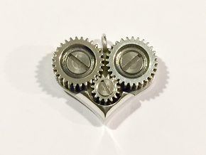 Gear Heart Pendant - Base in Raw Silver
