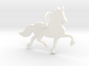 Friesian horse silhouette pendant made by 3d print in White Processed Versatile Plastic