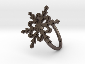 Snowflake Ring 2 d=18mm h21d18 in Polished Bronzed Silver Steel