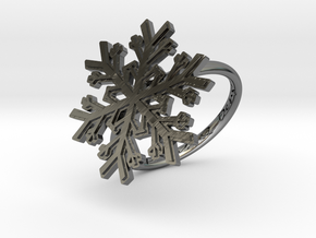 Snowflake Ring 1 d=18mm h21d18 in Fine Detail Polished Silver