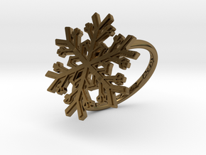 Snowflake Ring 1 d=18mm h21d18 in Polished Bronze