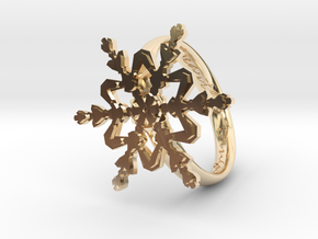 Snowflake Ring 2 d=19mm h35d19 in 14k Gold Plated Brass