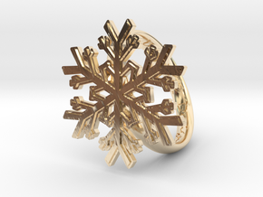 Snowflake Ring 1 d=19mm h35d19 in 14k Gold Plated Brass
