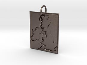 United Kingdom Silhouette Pendant  in Polished Bronzed Silver Steel