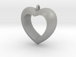 Heart Pendant #4 in Aluminum