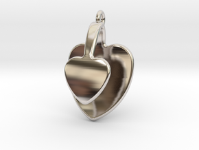 San Valentino Heart Earring in Rhodium Plated Brass