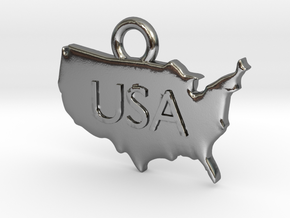 USA Pendant in Polished Silver