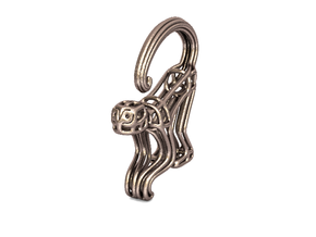 Spider Monkey Wireframe Keychain in Polished Bronzed Silver Steel