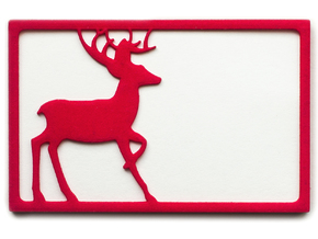 Deer Wallet - 2 Cards in Red Processed Versatile Plastic