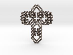 Celtic Cross Weave in Polished Bronzed Silver Steel