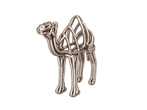 Camel Wireframe Keychain  in Polished Bronzed Silver Steel