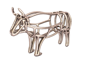 Bull Wireframe keychain in Polished Bronzed Silver Steel