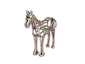 Horse Wireframe keychain in Stainless Steel